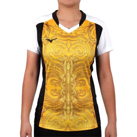 (女) MIZUNO 2017企業排球聯賽 排球短袖上衣-T恤 短T 企排 美津濃 黃黑