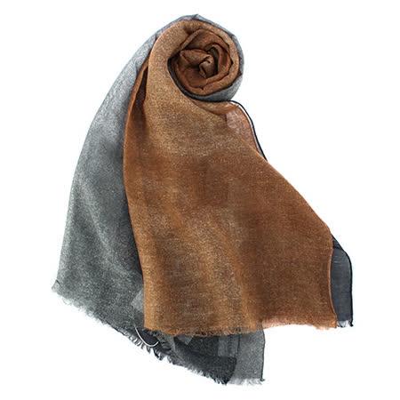 ARMANI Collezioni經典拼色薄圍巾-棕色