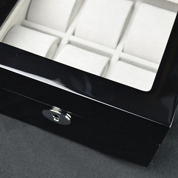 【P&W名錶收藏盒】【玻璃鏡面】 鋼琴烤漆 手工精品木盒 6只裝錶盒