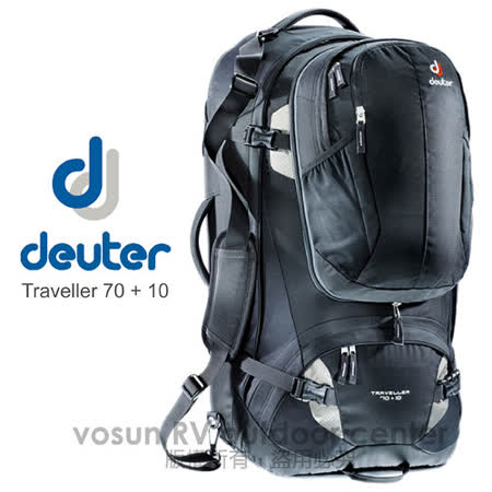 【德國 Deuter】Traveller 70+10L 自助旅行背包_3510115 黑/灰