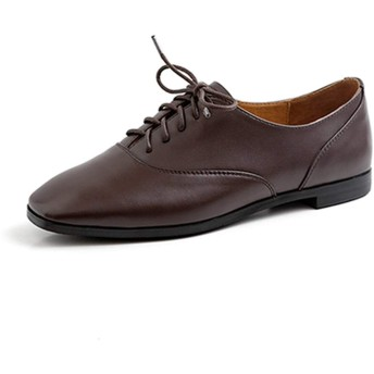 [ブウケ] オックスフォード レディース 革靴 レザー オックスフォードシューズ 通学 通勤 レースアップ 23.0cm パンプス シューズ 太ヒール マニッシュシューズ 歩きやすい 本革 日系 靴 ブラウン 牛革 おじ靴 カジュアル 女性用