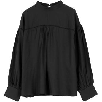 [神戸レタス] ハシゴレース ハイネック ブラウス [C4116] レディース 長袖 ワンサイズ ブラック