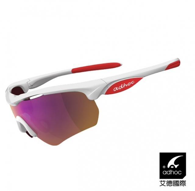 【ADHOC】艾德國際 運動太陽眼鏡 HAWK(亮白紅/標準鍍膜片)
