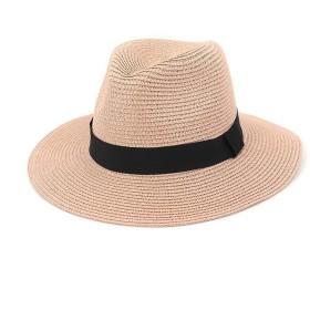 YESONEEP 女性広いつばストローパナマ帽子フェドラビーチ太陽麦わら帽子用レディファッショナブルな帽子女性麦わら帽子休日の帽子 (色 : ピンク, サイズ : Adjustable)