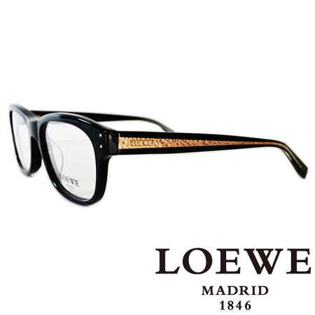 LOEWE 西班牙皇室品牌羅威金邊LOGO平光眼鏡(黑) VLW829-0700