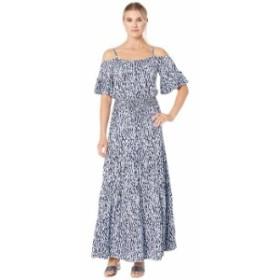 マイケルコース レディース ワンピース トップス Cold Shoulder Ikat Maxi Dress Shore Blue