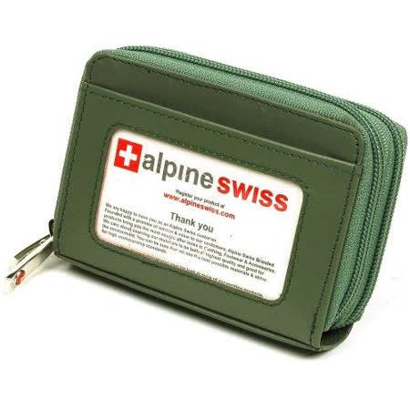 【Alpine Swiss】2017瑞士十迷你信用卡植物綠色拉鍊管理夾包【預購】