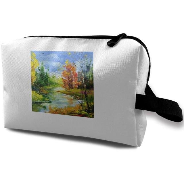 木製の川と秋の風景 化粧ポーチ 化粧品ポーチ メイクポーチ 多機能 大容量 普段使い