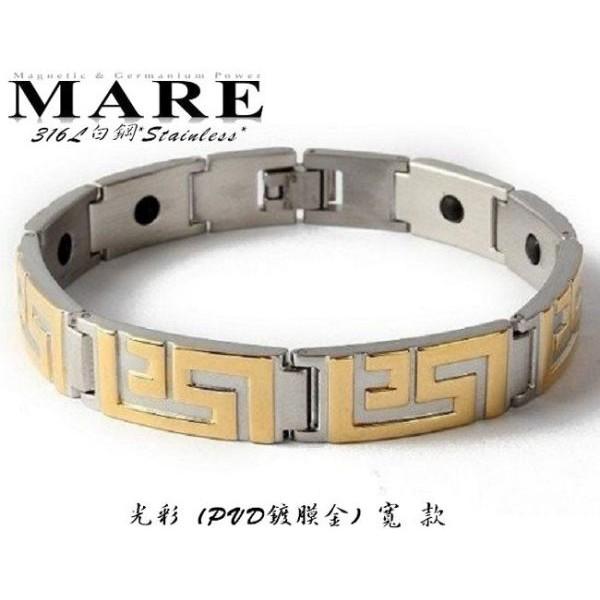 【MARE-316L白鋼】系列:光彩 (PVD鍍膜金)寬 款