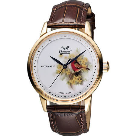 Ogival 愛其華 微砌彩繪機械腕錶 鳥x玫瑰金 40mm 1929-24.7AGR