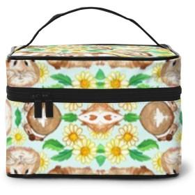 化粧ポーチ モルモットとヒナギク 化粧品バッグ 防水 多機能 大容量 持ち運び便利 旅行する