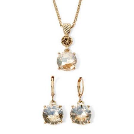 【Love 21】Monet2018時尚香檳色單顆水晶耳環項鍊套組【預購】