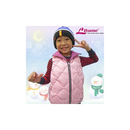 【意都美 Litume】兒童熱賣款 輕量防風防潑水保暖羽絨背心(雙面穿_刷毛+羽絨)/C256 粉紅
