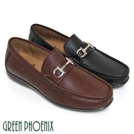 【GREEN PHOENIX】一字金屬手縫全真皮平底休閒男鞋(男款)