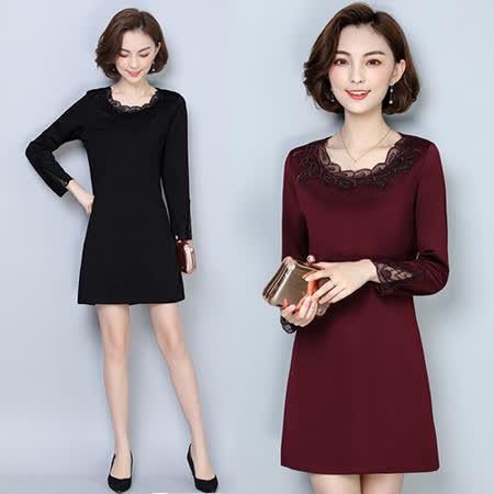 【韓國KW】3XL-5XL 秋冬氣質出眾素色簡約顯瘦洋裝