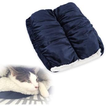EMME 着れる ロールクッション 着る毛布 SとMサイズ連結可能 2連 もぐる あったか クッション 冬用 ひざ掛け毛布 中綿入り ごろ寝マット大人用 子供用 犬猫べット ペットクッション ふわもこ 防寒 温度調節 全周ファスナー 付き 洗える Sサイズ ネイビー