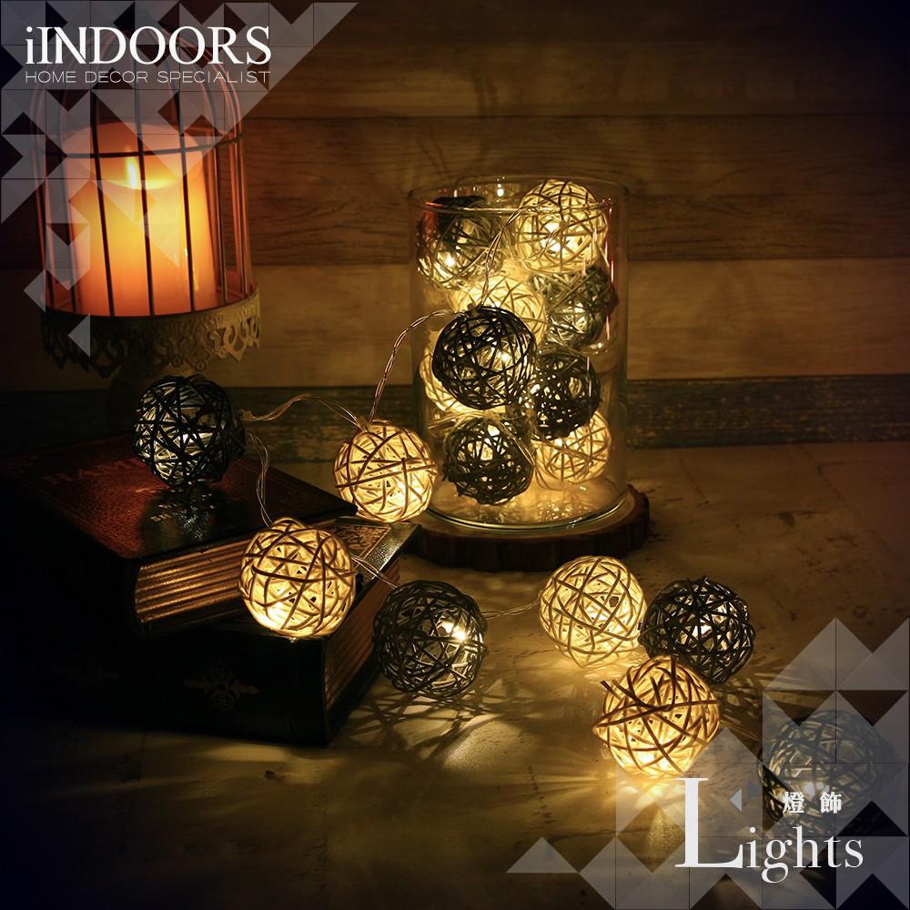 英倫家居 創意籐球燈飾燈串 月光鑽石 電池款 LED氣氛燈 聖誕節交換禮物 情人節 浪漫婚禮 生日派對 似棉球燈