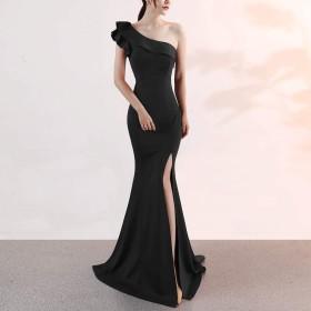 女性のイブニングドレスワンショルダーイブニングドレスフィッシュテールスカートスリムバックレスフィッシュテールスカートドレスカクテルパーティーイブニングドレス花嫁介添人ドレス