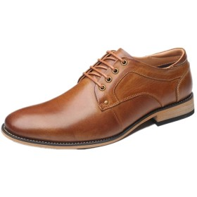 [Jusheng-shoes] メンズシューズ ファッションメンズクラシック結婚式の靴は革ポインテッドトゥビーガン耐摩耗性ブロックヒールステッチレースアップのためのビジネスオックスフォード カジュアルシューズ (Color : 褐色, サイズ : 25 CM)