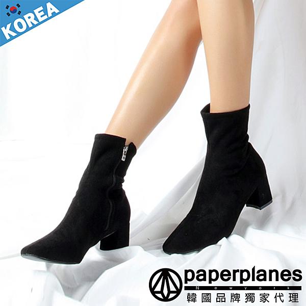 PAPERPLANES 紙飛機 韓國空運 簡約素面 質感舒適絨布 側拉鍊6cm尖頭中筒靴【B79309816】