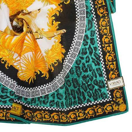 VERSACE 古典藝術猛獅豹紋領帕巾-藍綠