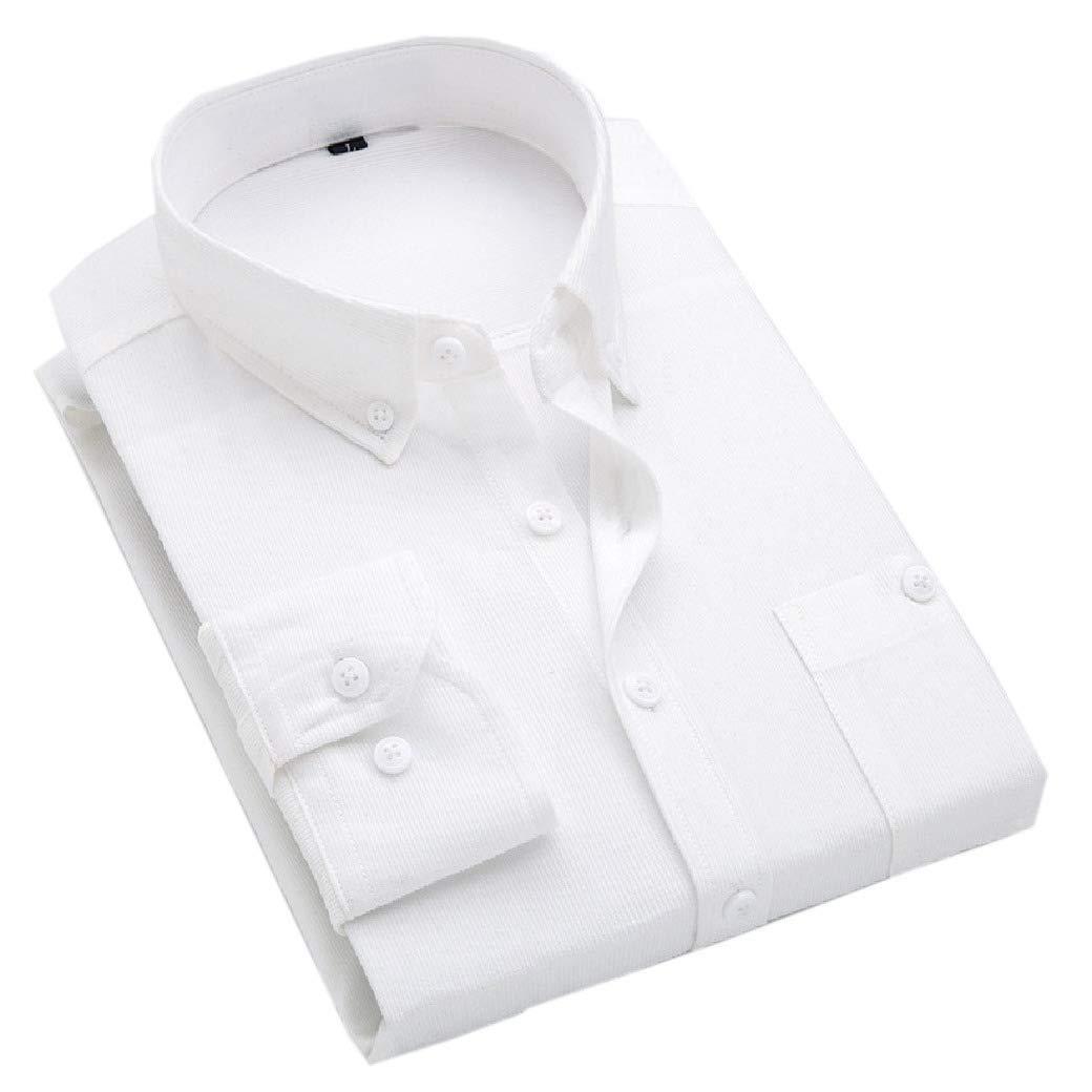 YUNY Mens Button-Down-Shirts Business Corduroy Slim Fitting Shirt Wine red 4XL