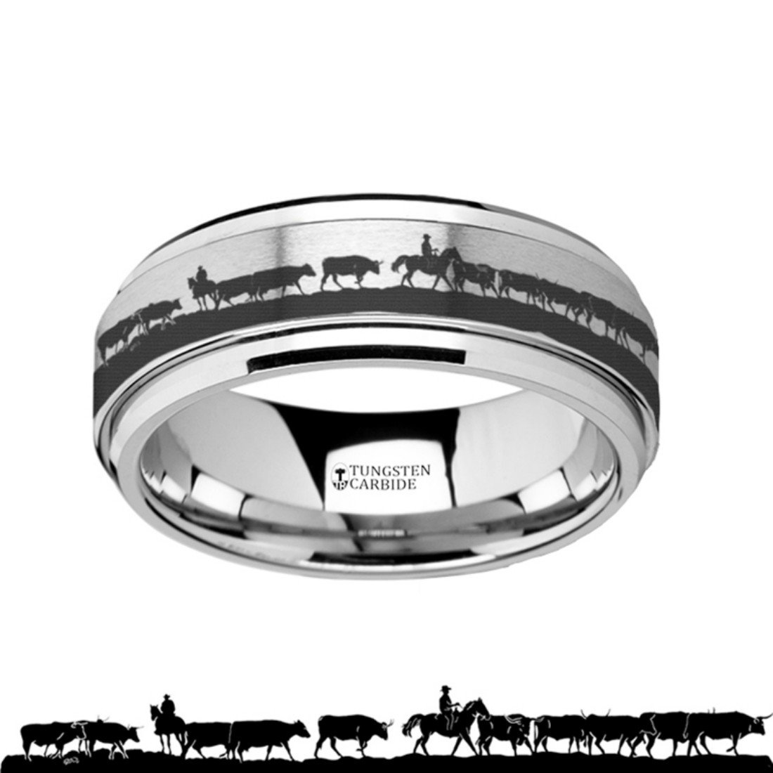Thorsten Howling Wolf at Moon on Mountain Range Scene Print Pattern Ring Black Tungsten Ring 10mm Wide Wedding Band from Roy Rose Jewelry