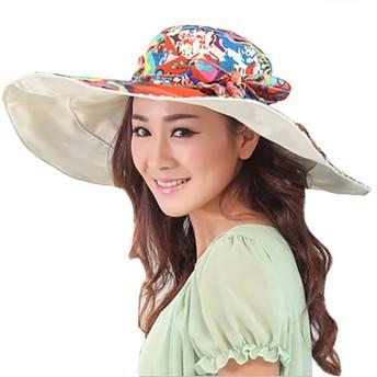 女性レディース大つば太陽帽子パック可能旅行ビーチ帽子花フロッピー帽子アンチUVサンプロテクション帽子ファッションリバーシブルサマーハットちょう結び旅行バケツ帽子サンボンネット旅行ホリデー用