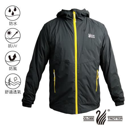 【遊遍天下】中性款防水透濕防風抗UV機能連帽外套GJ13001黑色