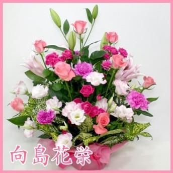 ピンクバラとユリの華やかなアレンジメント