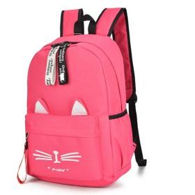 防水ガールズキャンバスバッグ-ウェアラブル軽量学生バックパック-トレンディな女性のバックパック,Red