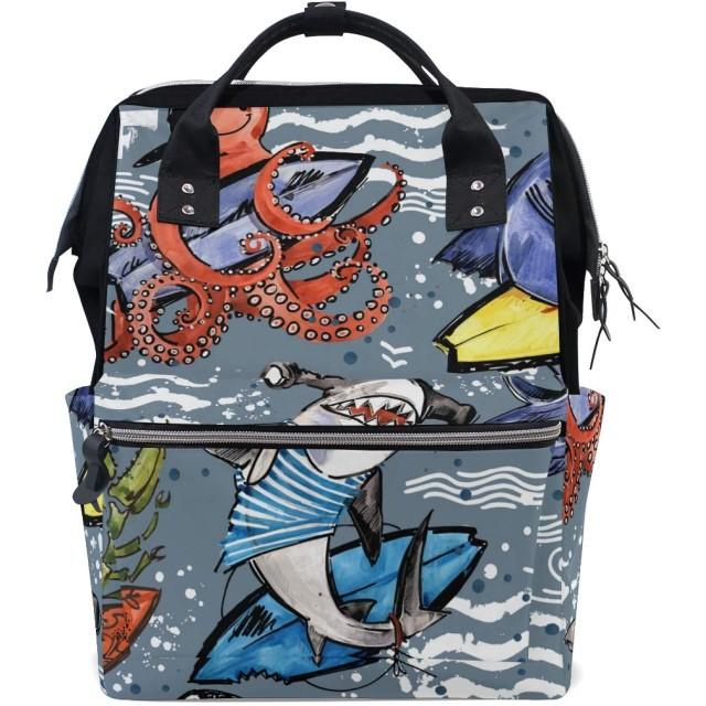ママリュック サメ タコ カニ ミイラバッグ デイパック レディース 大容量 多機能 旅行用 看護バッグ 耐久性 防水 収納 調整可能 リュックサック 男女兼用