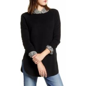 ハロゲン HALOGEN レディース チュニック トップス Shirttail Wool and Cashmere Boatneck Tunic Black