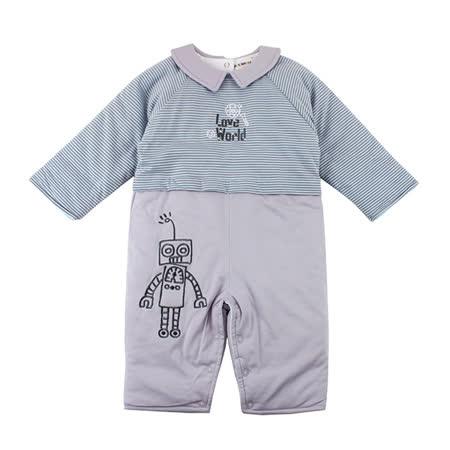 【愛的世界】LOVEWORLD 機器人系列純棉橫紋鋪棉衣連褲-藍灰/6個月~2歲-台灣製-