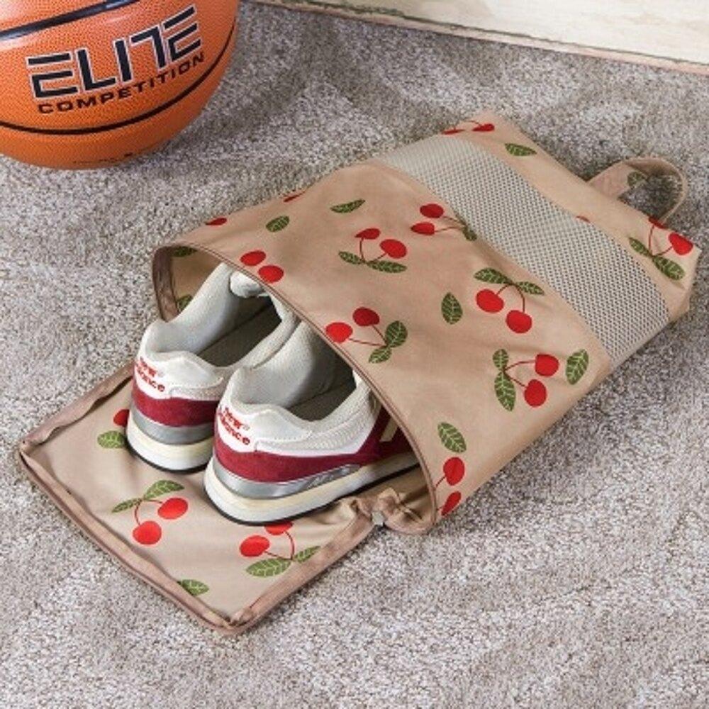 【Love Shop】SAFEBET 韓版櫻桃款創意鞋盒  手提袋旅行收納袋夾網 鞋袋 (L號)