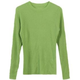 女性の秋と冬の長袖ラウンドネックスリムスリムニットトップ VFPOPOc (Color : Green, Size : M)