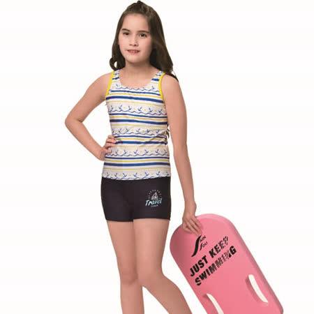 【SAIN SOU】泡湯 SPA中童兩截式泳裝附泳帽A72809