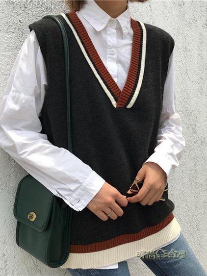 韓版V領針織背心馬甲秋裝女新款百搭學院風寬鬆顯瘦無袖毛衣