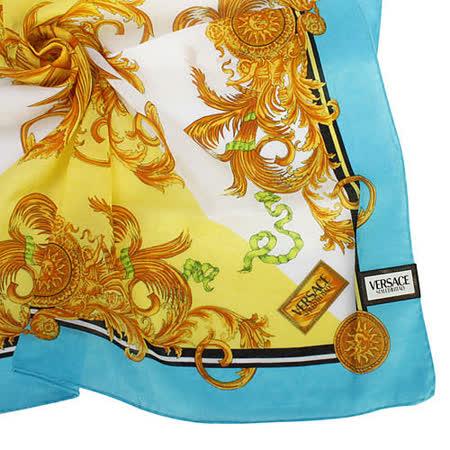 VERSACE 古典藝術風太陽圖騰領帕巾-藍/黃