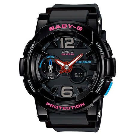 CASIO Baby-G系列 極限層次潮汐運動腕錶-黑-BGA-180-1BDR