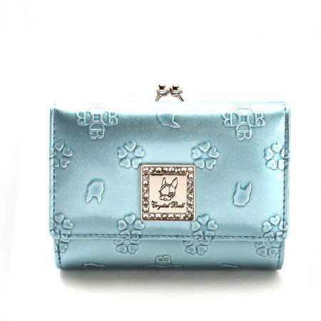 Crystal Ball 浮雕花飾鑽LOGO珠扣短夾-粉藍