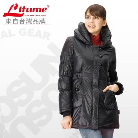 【意都美 Litume】 女款 Primaloft One 超輕量透氣防風保溫棉外套(中長版_可機洗)_ H7018 黑