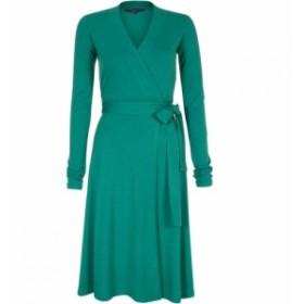 ホットスカッシュ HotSquash レディース ワンピース ラップドレス ワンピース・ドレス Wrap dress in thinheat fabric Emerald Green