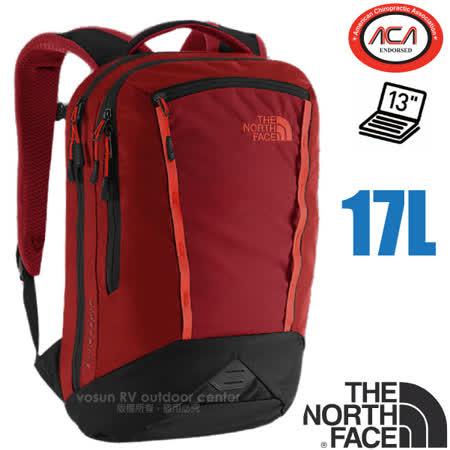 【美國 The North Face】 MICROBYTE 抗撕裂多功能後背包17L(YKK拉鍊+求生哨_電腦書包_可容13吋筆電_美國脊椎協會認證) CHK5 磚瓦紅 V