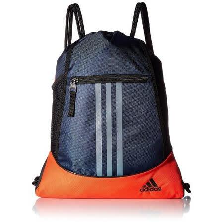 【Adidas】2018時尚聯盟大學藍橙色拉鍊款抽繩後背包【預購】
