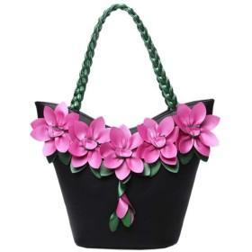 QTMIAO-Bags レディースハンドバッグ、大容量のハンドバッグを織り女性のステッチのコントラストカラーのハンドバッグのファッションの花のハンドバッグ (Color : Black, Size : 251335cm)