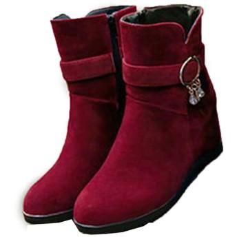 [GHJC] ショート ブーツ レディース ウェッジソール ヒール ショートブーツ 靴 ウェッジ アンクル丈 赤 おしゃれ 歩きやすい 痛くない 秋 冬 黒 ブラック インソール バックジップ ファー付き 厚底 スノーブーツ 雪靴 24.0cm