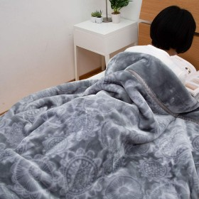 昭和西川 衿付き 2枚合わせ 毛布 シングル 約2.4kg ボリュームタイプ ノルディックフラワー CUORE 直営限定ブランド クオーレ (グレー)