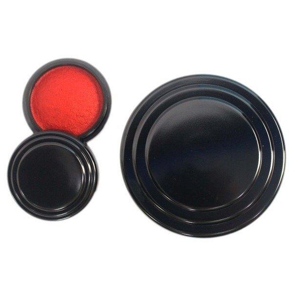 萬年紅 艾絨印泥 (中)直徑約7cm/一盒12個入(定140) MIT製 萬年紅印泥 朱肉-萬