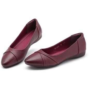 [リンゼ] パンプス フラットシューズ レディース ローヒール 痛くない 大きいサイズ 軽量 ぺたんこ 歩きやすい ワインレッド 25.5cm 疲れにくい 結婚式 おしゃれ かわいい レディース靴 シンプル コーデ ぺたんこシューズ